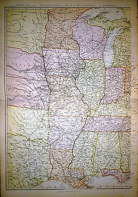 1882 Large Victorian Map ~ United States ~ Atlantic States Valley Mississippi