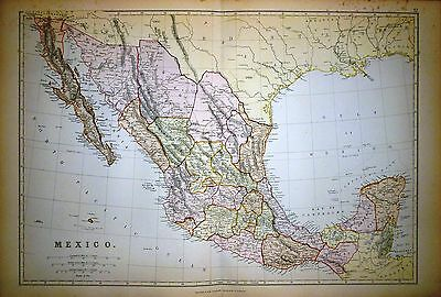 1882 Large Victorian Map ~ Mexico ~