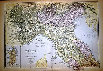 1882 Large Victorian Map ~ Italy ~ North Part Inset Island Of Sardinia