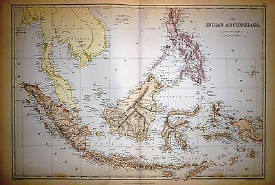 1882 Large Victorian Map ~ The Indian Archipelago ~ Borneo Philippine