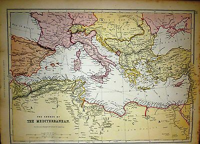 1882 Large Victorian Map ~The Shores Of The Mediterranean ~ Spain Italy Greece