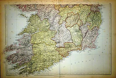 1882 Large Victorian Map ~ Ireland - South Part ~