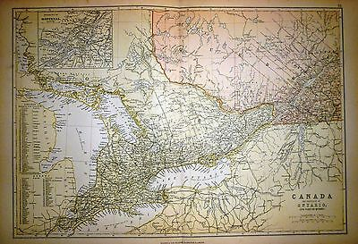 1882 Large Victorian Map ~ Canada Province Of Ontario & Quebec Montreal