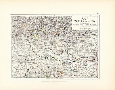 Map/Battle Plan ~ Valley Of The Po ~ Illustrating Campaigns Of 1796-8 & 1800