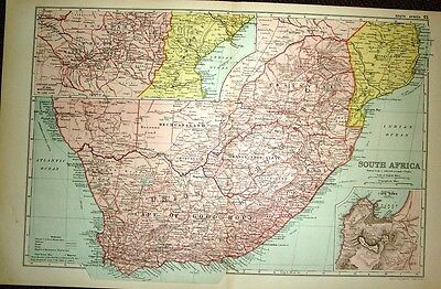1922 LARGE MAP of SOUTH AFRICA inset ENVIRONS of CAPE TOWN 21 x 13 inches