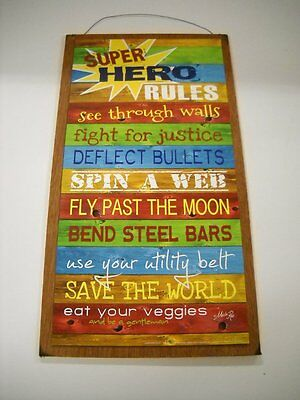Super Hero Rules Boys Bedroom Wooden Wall Art Sign superhero decor childrens