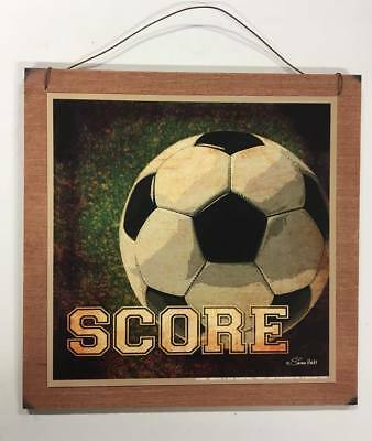 score soccer ball boys Sports bedroom wood Wall Art Sign childrens room Decor