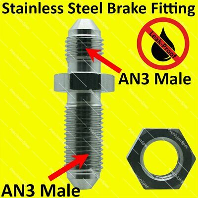 AN3 3AN Bulkhead Fitting Adapter With Nut Straight Stainless Steel