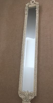 Long slim wall mirror bevelled glass antiqued white grey for Long glass mirror