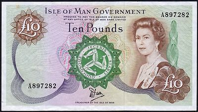 1990 ISLE OF MAN GOVERNMENT £10 BANKNOTE * A 897282 * VF-gVF *