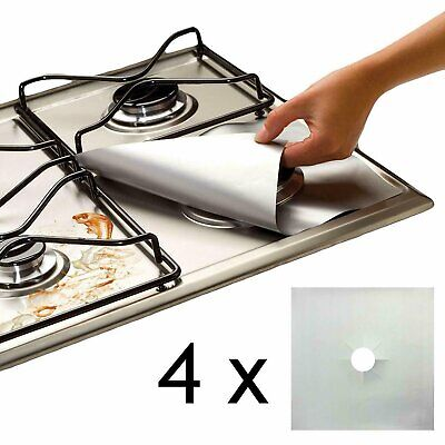 4 x UNIVERSAL Teflon Gas Hob Silver Liner Non Stick Lining Easy Clean Protector