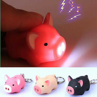 Lovely Pig Key Chain New Hot With LED Light Animal Super Bright Sound