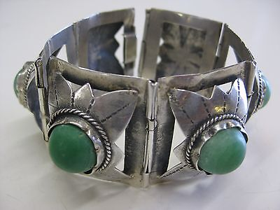 Vintage Mexico Sterling Silver And Green Turquoise Hinged Bracelet