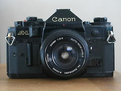 Canon A-1 Camera Body In Black With Vivitar 28Mm 1:2.8 Auto Wide Angle Lens Vgcd