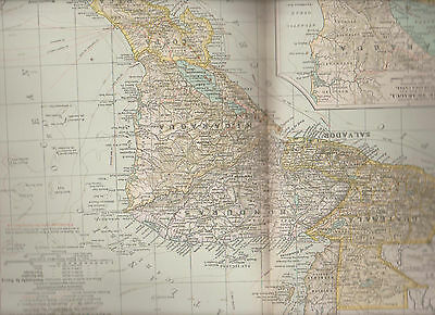 Central America Portion Century Atlas 1897 Antique Map #66 11 3/4 x 16