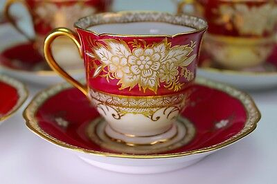 Noritake Set of 8 Red and Gold Flowers Demitasse Cups and Saucers - Gorgeous!