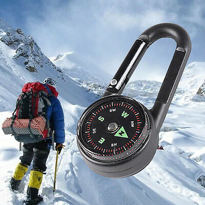 Portable Keychain Carabiner Camping Compass Thermometer Multifunctional RI