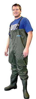SHAKESPEARE X TACKLE WADERS Size 12 - Lug Sole - Olive Green