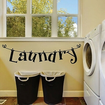 DIY Laundry Room Quote Wall Sticker Home Decor Vinyl Art Mural Removable Decals