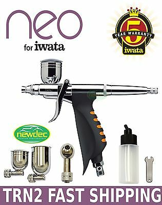 NEW IWATA NEO HP.TRN2 .5mm AIRBRUSH SPRAY GUN KIT BODY ART GRAVITY ACTION PAINT