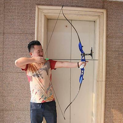 Archery 26Lb Takedown Recurve Bow Blue Alloy Riser Target Practice Hunting 66""