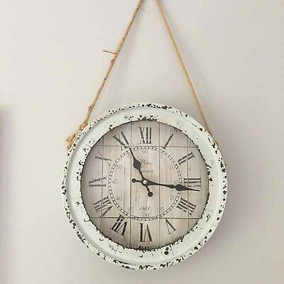 Rustic Metal Wall Clock with Rope Hanger/Vintage Kitchen/Hampton's/Farmhouse