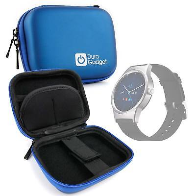 Blue Hard EVA Case with Carabiner Clip for Alcatel MovieTime Wifi Smartwatch