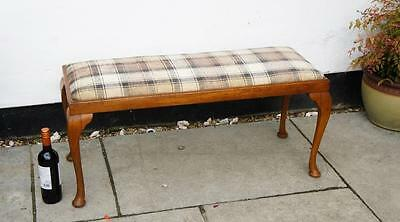 1920's light Oak Duet Stool, Queen Anne style  professionally re upholstered VGC