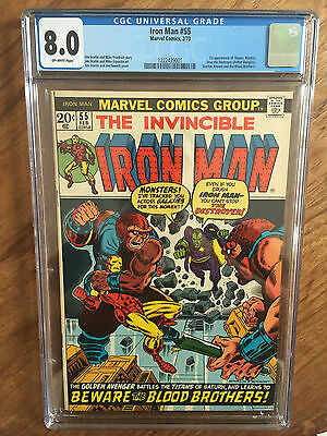 Iron Man  #55  Cgc 8.0  Off White Pages  (1St Thanos)