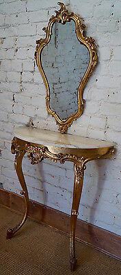 Vintage French Gilt Marble Topped Console Table and Mirror