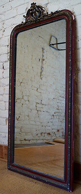 Large Antique French Napoleon III Over Mantle Mirror