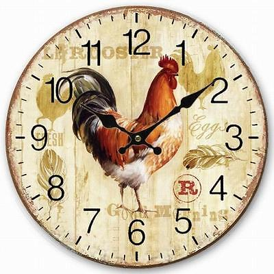 Retro Style Wall Clock Chicken Rooster Home Decorative Wood Board 34CM