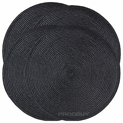 Set of 6 Woven Black Round Fabric Placemats Dining Table Place Settings Mats