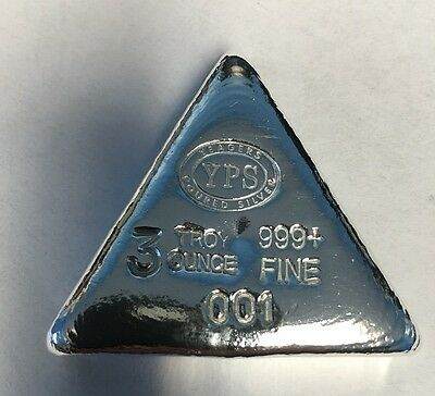 "3oz Hand Poured 999 Silver Bullion Bar ""Wedge"" by YPS   Yeager's Poured Silver"