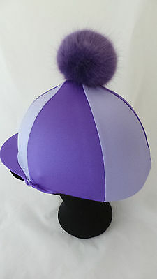 Faux fur Pom Pom Riding Hat Cover Lycra Equestrian Eventing Cross Country