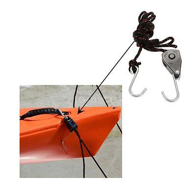 New Kayak Canoe Bow or Stern Tie down Pull Ratchet Rope Ratchet with Hook K9H6