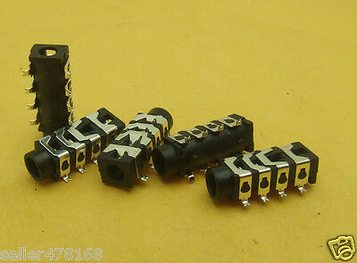 "40PCS 4-pole 8-pin SMD 1/8"" 3.5mm Stereo Audio Socket for Headset Headphones"