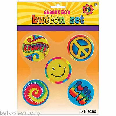 5 Piece Feeling Groovy 60's Disco Tie-Dye Themed Party Badge Button Set