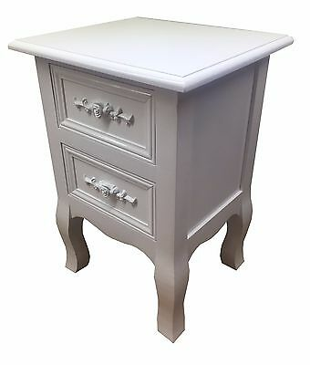 New Shabby Chic White Rose Wooden Bedside Cabinet Nightstands Side/end Table