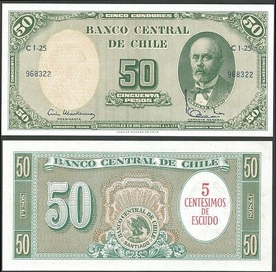 Chile 5 Cents on 50 PESOS Sign.2 ND (1960-61) P 126b UNC