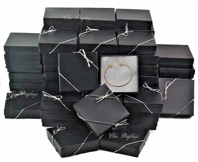 LOT OF 100 BLACK COTTON FILLED BOX JEWELRY GIFT BOXES BRACELET BOX 3.5x3.5 <HOT>