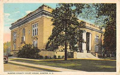 Sumter South Carolina Court House Street View Antique Postcard K40118