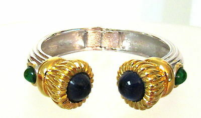 Lovely Signed Ciner Clamper Bracelet With Cabochon Faux Sapphire Emerald Stones