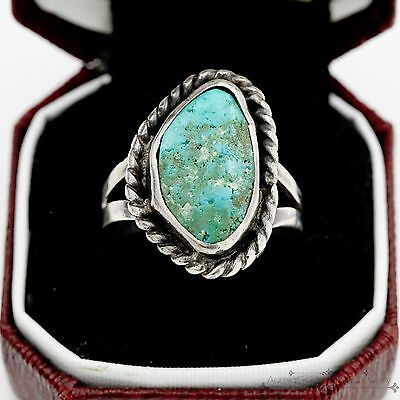 Antique Vintage Sterling Silver Native Navajo Cripple Creek Turquoise Ring Sz 8