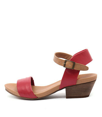 New I Love Billy Contessa Red Tan Womens Shoes Casual Sandals Heeled