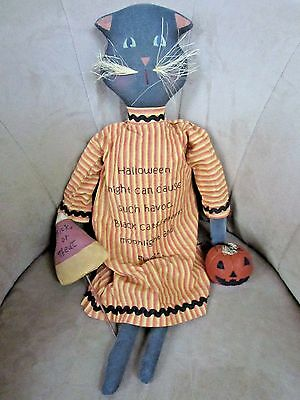 """Halloween Black Cat In Nightgown Embroidered W/halloween Verse-25""""high!  #08"""