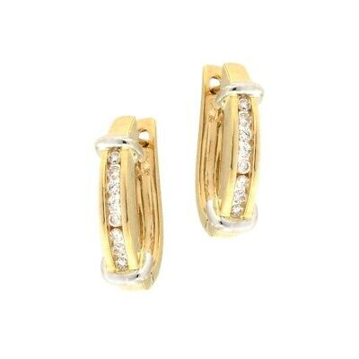 Huggie Earrings with Row of .15CTW Diamonds 14kt Multi-tone Gold