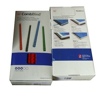 100 GBC CombBind A4 21 Ring Binding Combs 10mm Red 4028215 65 Sheets G32R