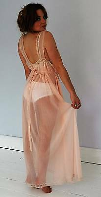 Vintage sexy sheer 60's nightdress negligee pale pink lace medium
