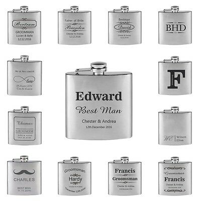 1*Personalized Engraved 6oz Silver Hip Flask Stainless Steel Wedding Gift Favors